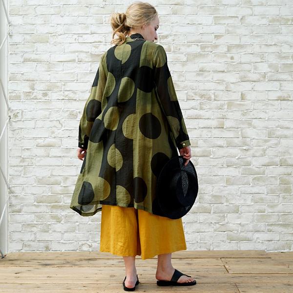 ロングワンピース レディース ドット柄 フリーサイズ シルク ドレス 長袖 koibitomisaki 06-1677