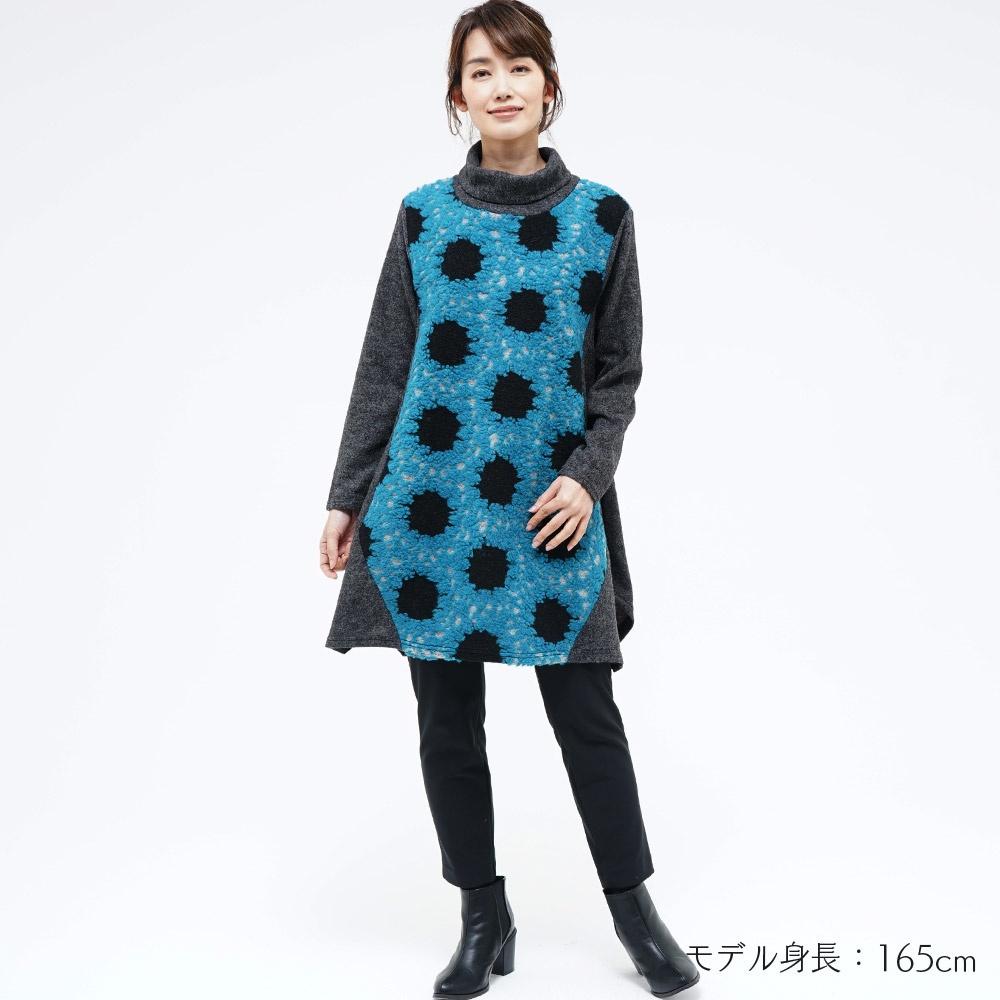 トップス 変形 起毛 リブ オフタートル 刺繍 配色 長袖 koibitomisaki 08-1299