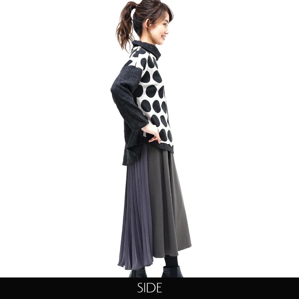 トップス ワイド ドット アシンメトリー オフタートル リブ 起毛 koibitomisaki 18-0188