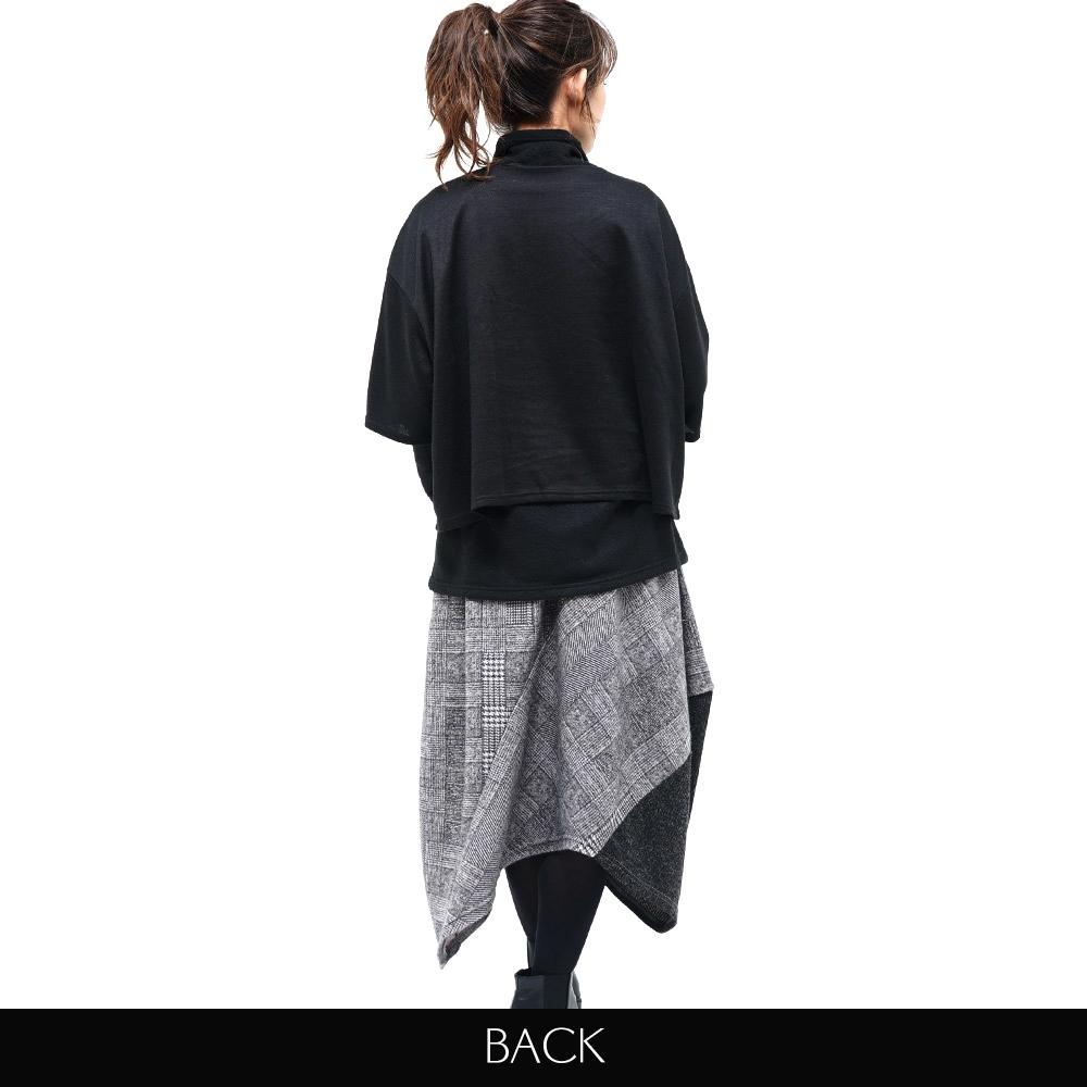 トップス ショート丈 ワイド ドット パッチワーク7分袖 ニットソー koibitomisaki 18-0197