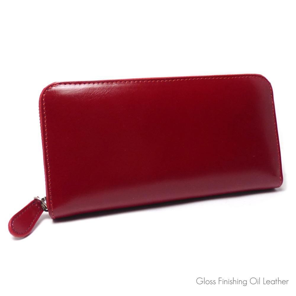 オイルレザー (グロスレッド / インナー グロスブラック) ラウンドファスナー式 ロングレザーウォレット 牛革/革財布