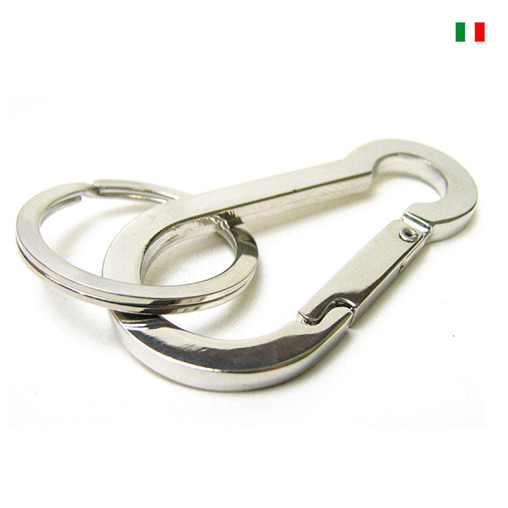 イタリア製 デザインカラビナ 鏡面仕上げ ステンレス手磨き2重カン付きキーリング/キーホルダー/ ナスカン