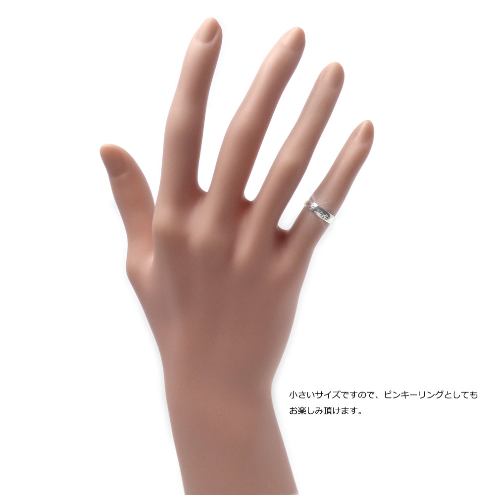 フラワー刻印 甲丸鏡面仕上げ シルバー925 ファランジリング(ミディリング)/トゥリング 【SILVER925/指輪】