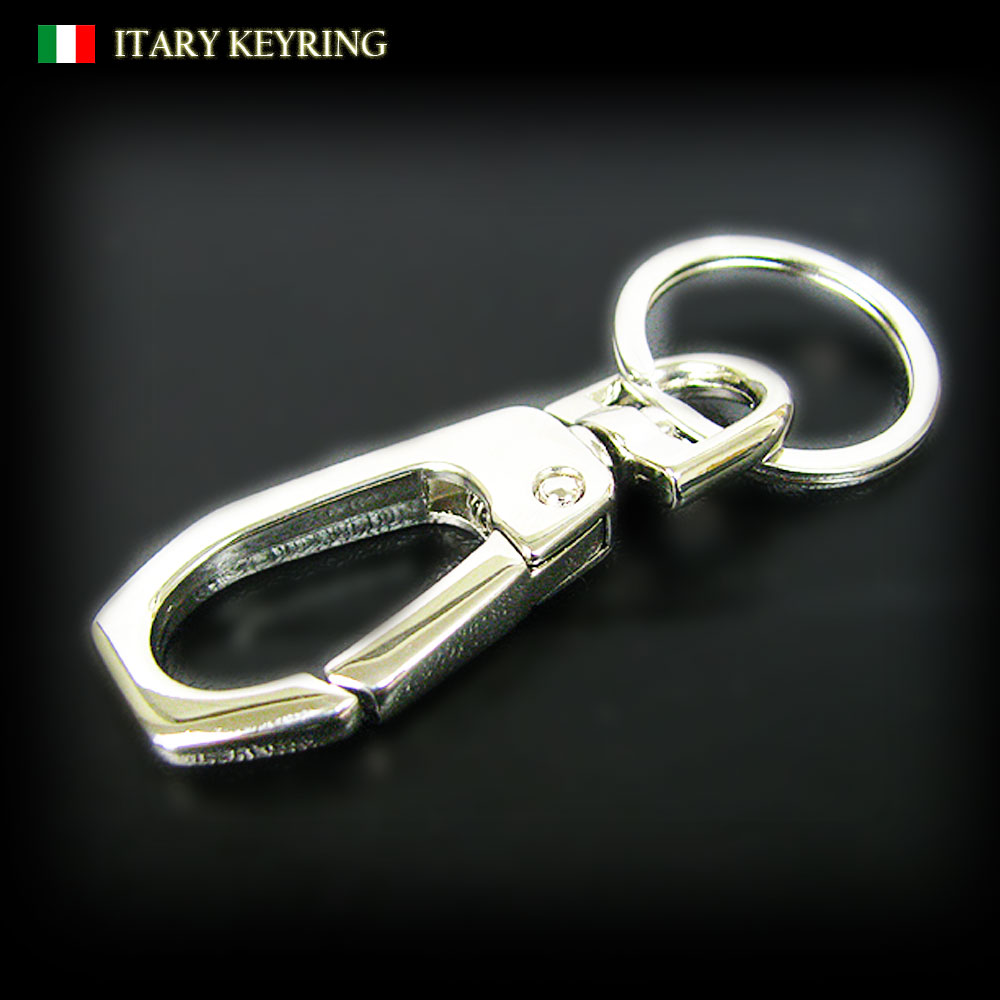 イタリア製 デザイン六角型カラビナ 鏡面仕上げ ステンレス手磨き2重カン付きキーリング/キーホルダー/ ナスカン