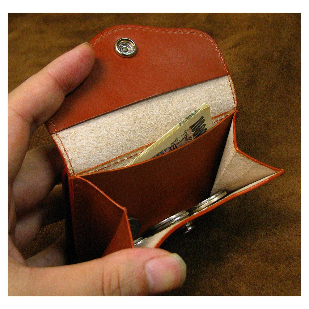 植物タンニン鞣し牛革(オイルヌメ)  二つ折り多機能コインケース/ コンパクトウォレット/革財布/ハンドメイド