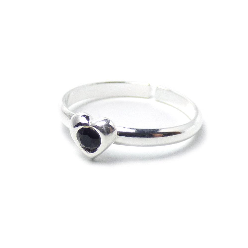 スワロフスキークリスタル パフハート  シルバー925 ファランジリング(ミディリング)/トゥリング 【SILVER925/指輪】