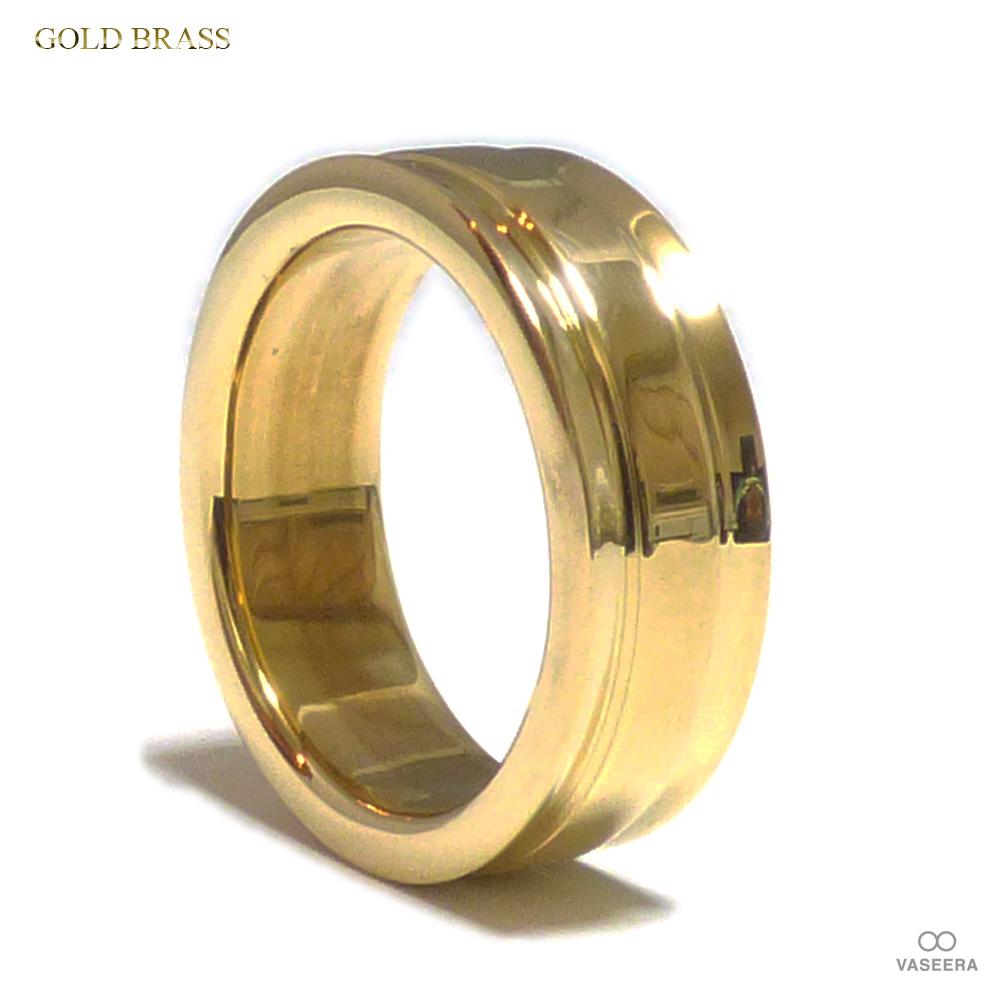 8mm幅 サイドカット仕上げ ゴールドブラス(真鍮) リング 【GOLD BRASS /指輪】