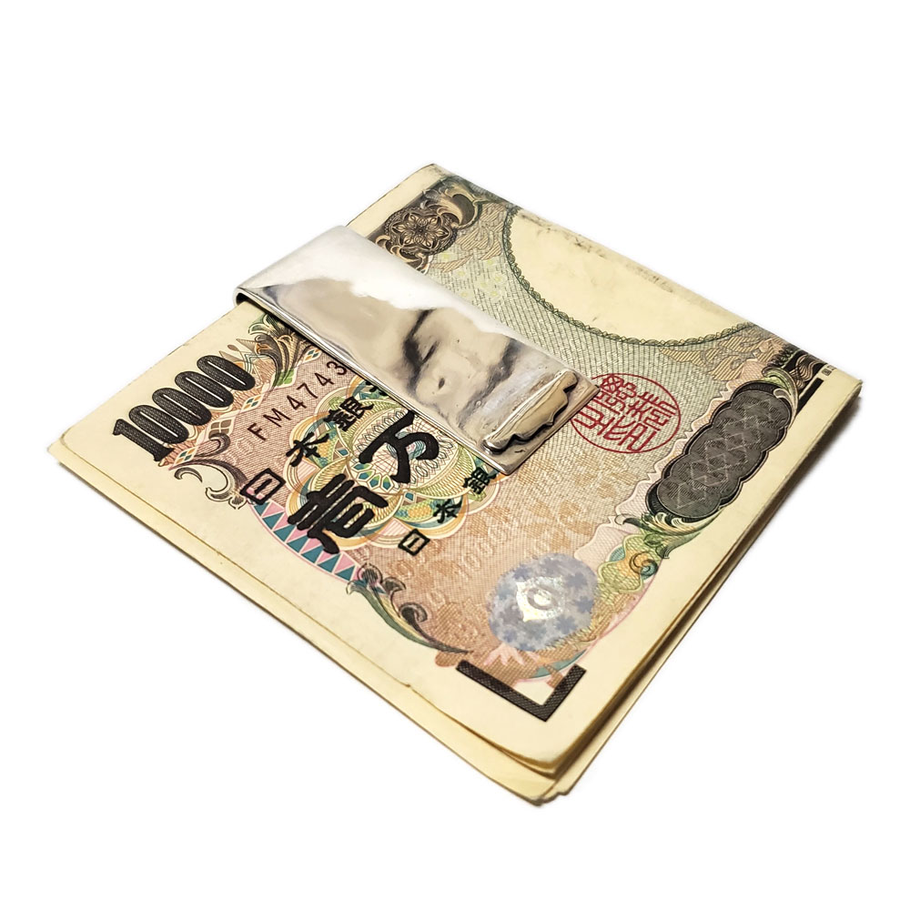 50mm リリーフレア(ユリ紋章) シルバー925 マネークリップ【札挟み/SILVER925】
