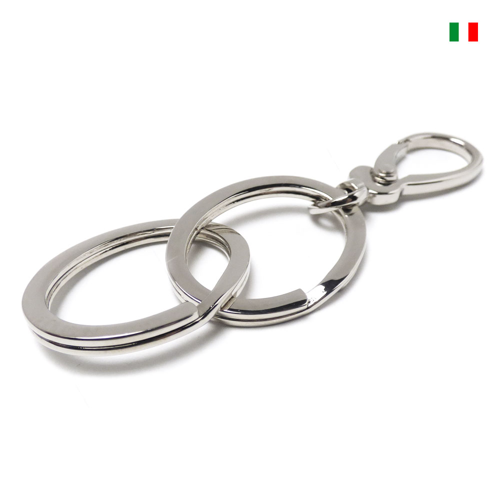 イタリア製デザインナスカン/カラビナ 2連 楕円型フラット2重カンキーリング/キーホルダー
