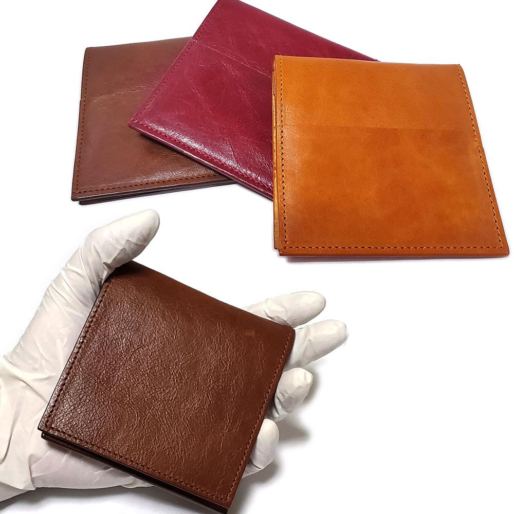 イタリアンレザー(フルタンニンオイルレザー/植物タンニン鞣し牛革) 超薄型 二つ折り ウォレット /薄い財布