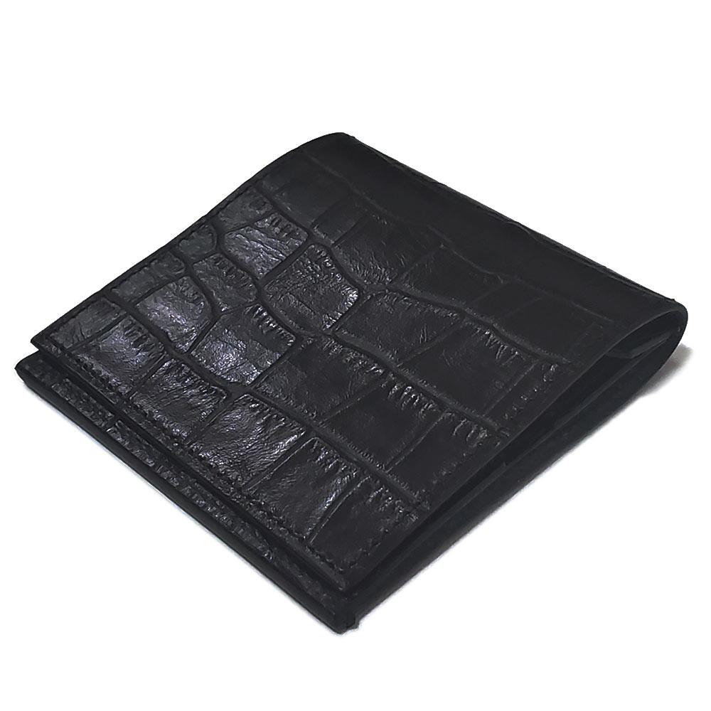 植物タンニン鞣し牛革 クロコダイル調エンボス仕上げ 超薄型 二つ折り レザーウォレット/薄い財布