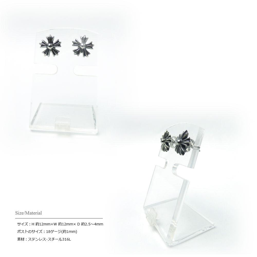 【2個セット(両耳用)】 12mm フローラルデザイン ブラックポリッシュ アンティーク仕上げ ステンレス ピアス 【ステンレス・スチール316L】