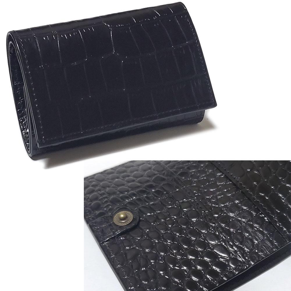 植物タンニン鞣し牛革 クロコダイル調エンボス仕上げ 三つ折り ミニマム レザーウォレット/小さい財布
