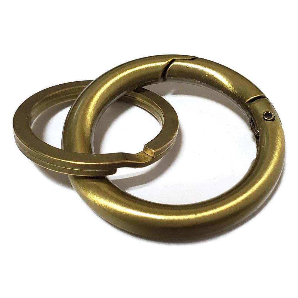 43mm リングカラビナ ブラスカラー仕上げ 31mm真鍮平型二重カン付き キーホルダー /キーリング