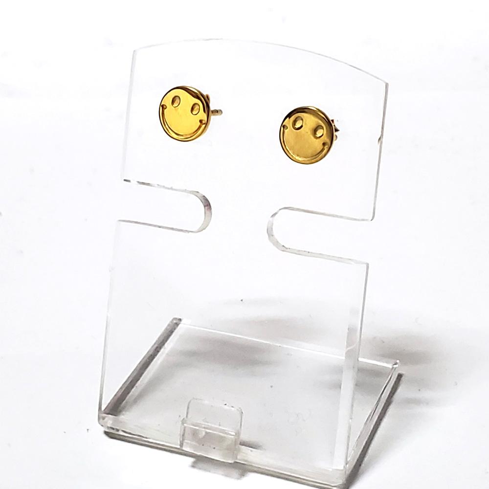 【二個セット(両耳用)】8mm スマイリーフェイス(スマイリーマーク) ゴールドコート仕上げ シルバー925 スタッドピアス  【シルバーピアス /  SILVER925 】
