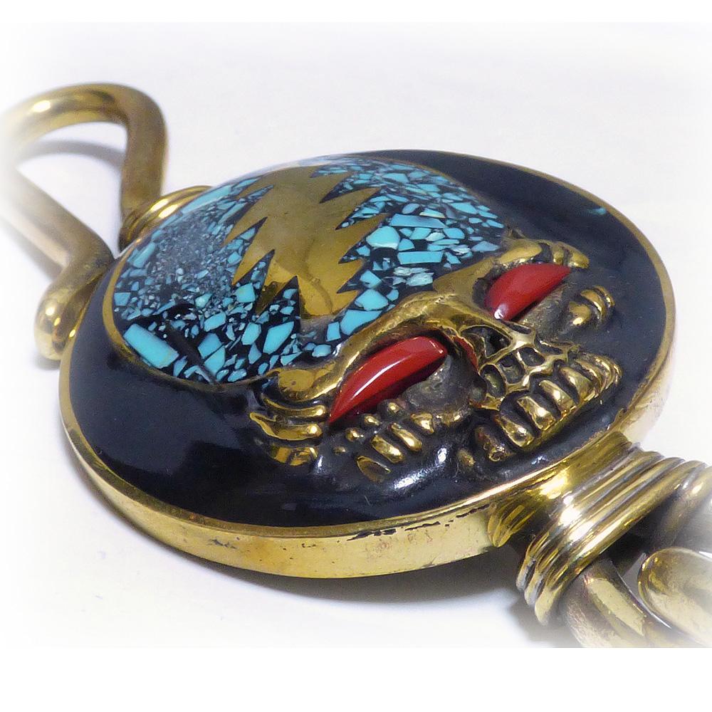 ゴールドブラス(真鍮) 天然石インレイ仕上げ ライトニングスカー・スカル 30mm二重カン付き ベルトフック キーホルダー 【キーリング 】