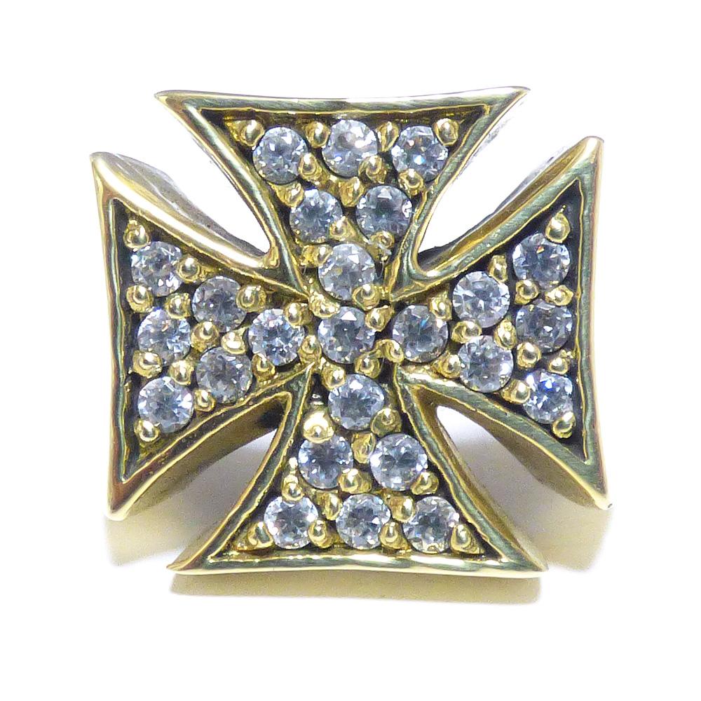 クロス・パティ/クロス・フォーミー 全面ジルコニア仕上げ ゴールドブラス(真鍮) リング 【GOLD BRASS /指輪】