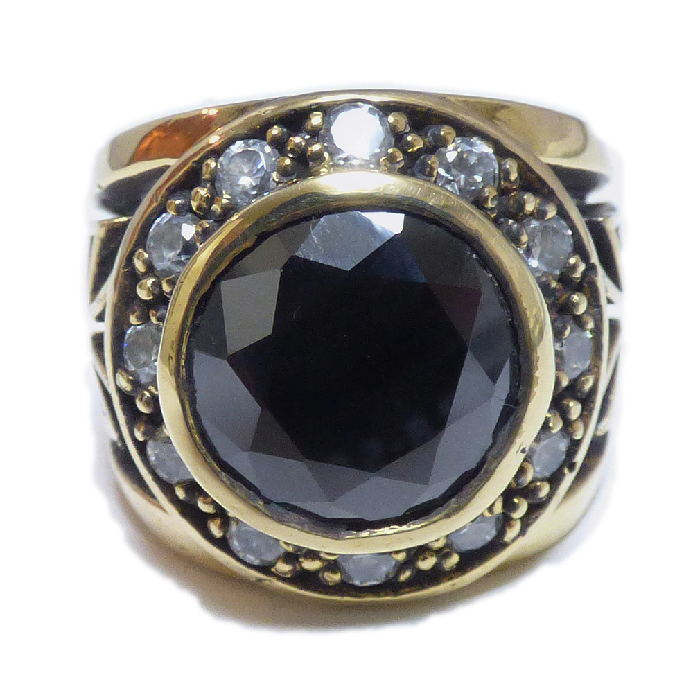 10mmカットブラックジルコニア 埋込みジルコニア装飾 クロス・パティ ゴールドブラス(真鍮) リング 【GOLD BRASS /指輪】