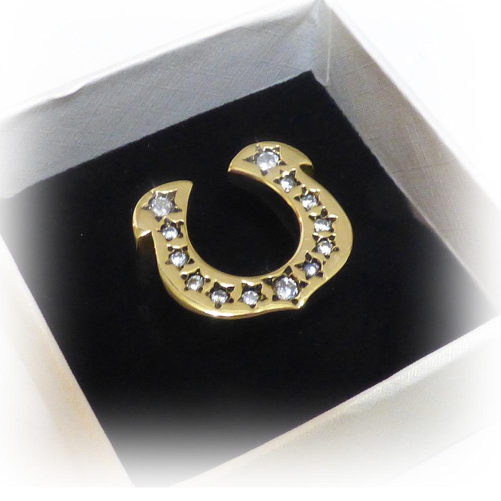 全面ジルコニア 埋込みホースシュー(馬蹄型) ゴールドブラス(真鍮) リング 【GOLD BRASS /指輪】