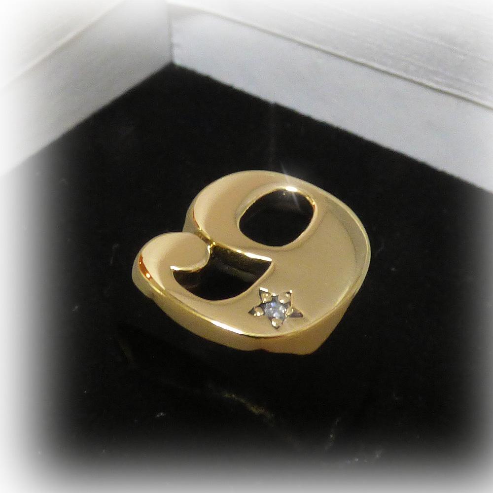 """ナンバー""""9"""" ジルコニア入りスターポイント ゴールドブラス(真鍮) リング 【GOLD BRASS /指輪】"""