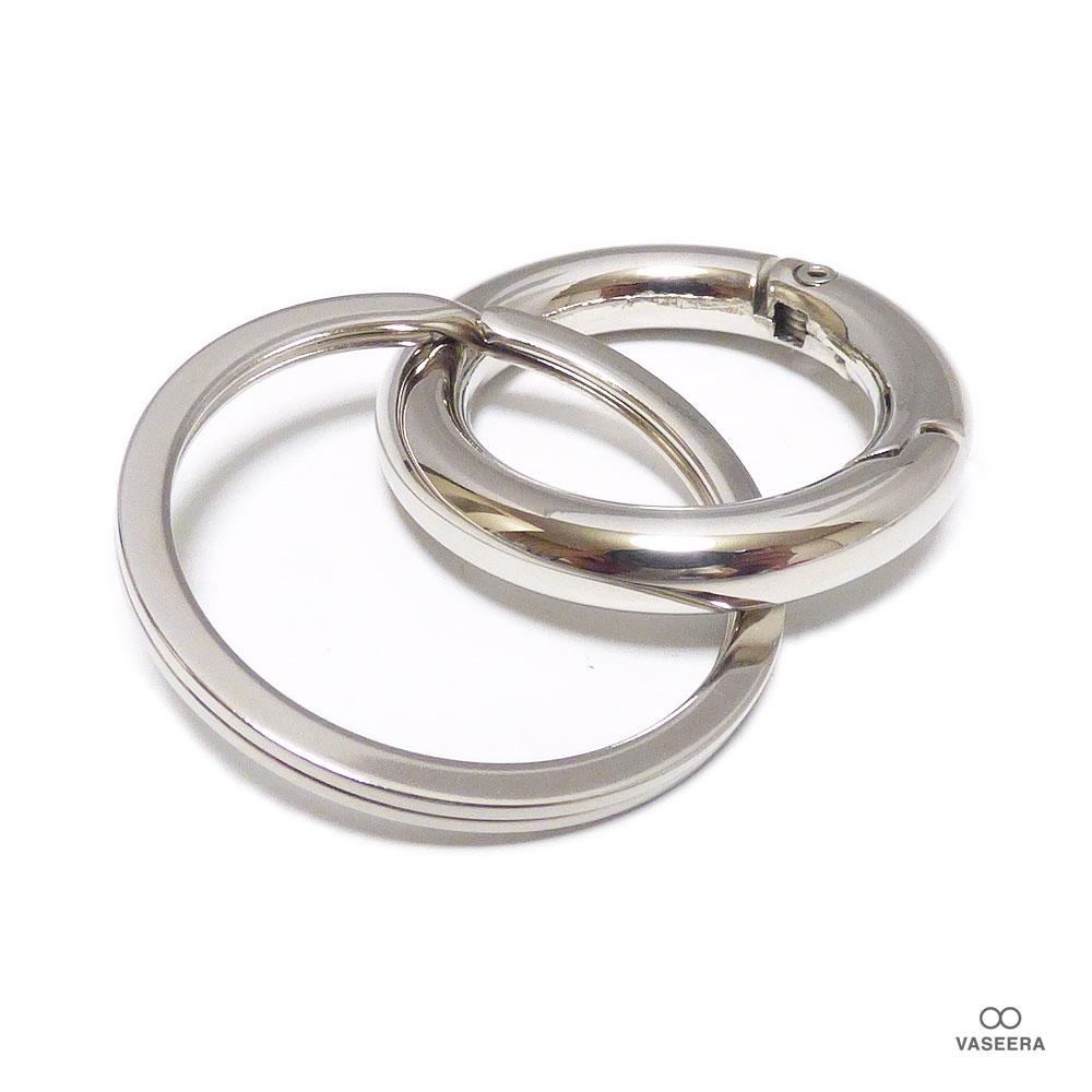 鏡面仕上げ 35mm リング カラビナ ステンレス 手磨き 二重カン付き キーホルダー /キーリング