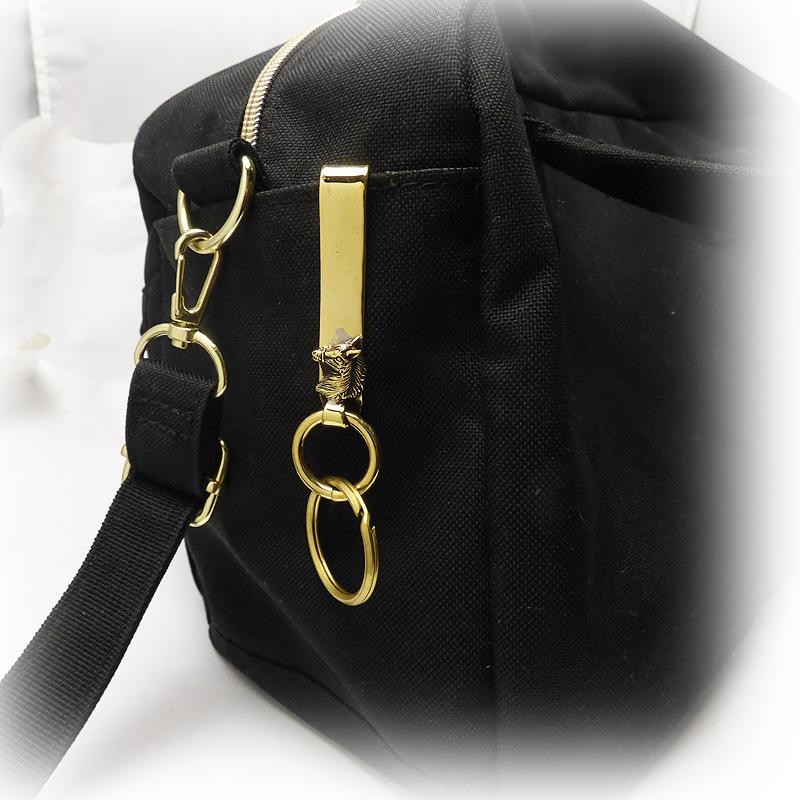 ゴールドブラス(真鍮) ホースヘッド(馬)  クリップフック式 キーホルダー 【キーリング 】