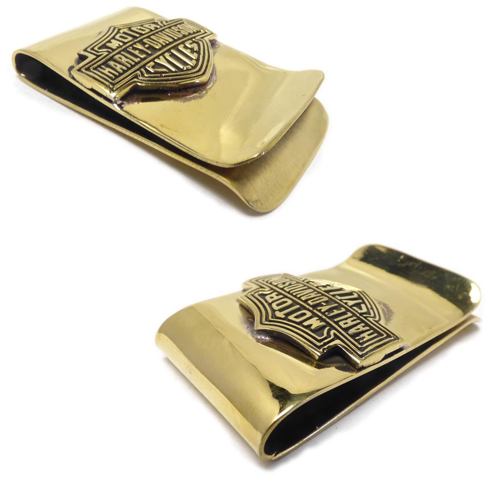ゴールドブラス(真鍮) 34mm幅 ハーレーダビッドソンロゴ マネークリップ/札挟み