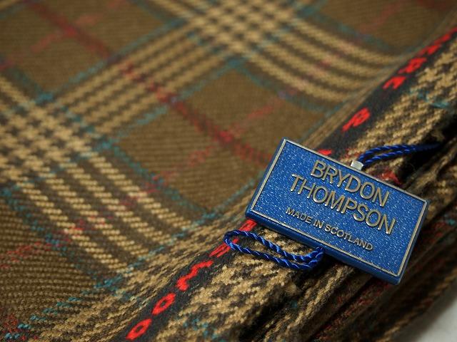 お買得 【BRYDON THOMPSON ロイヤル/格子】スコットランド製, 輸入生地, ラム80% ミンク10% カシミヤ10% 茶/グリーン系 140cm巾2.5m(スーツ分) 2121-051 【一点在庫あり ご注文はお早めに】