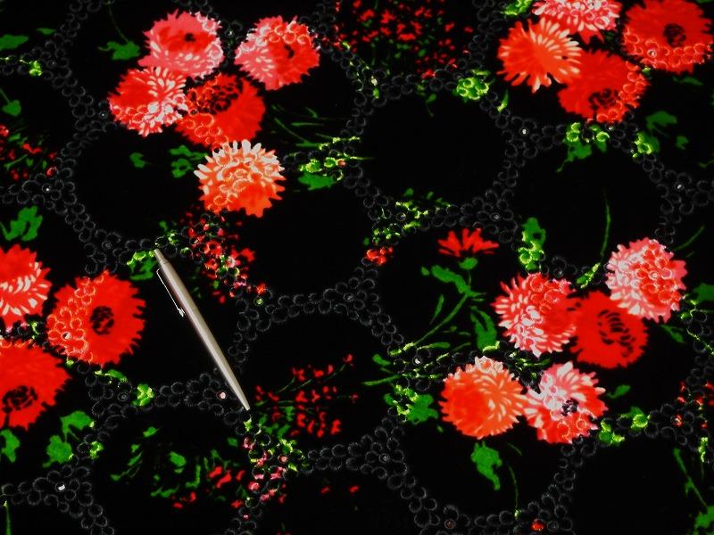 お買得 <strong>【ベルベット/レース/プリント】</strong><br> 日本製生地<br> 黒/赤ピンク系プリント<br> 90cm巾 3.4m<br> 2341-678<br> 【在庫一点あり ご注文はお早めに】
