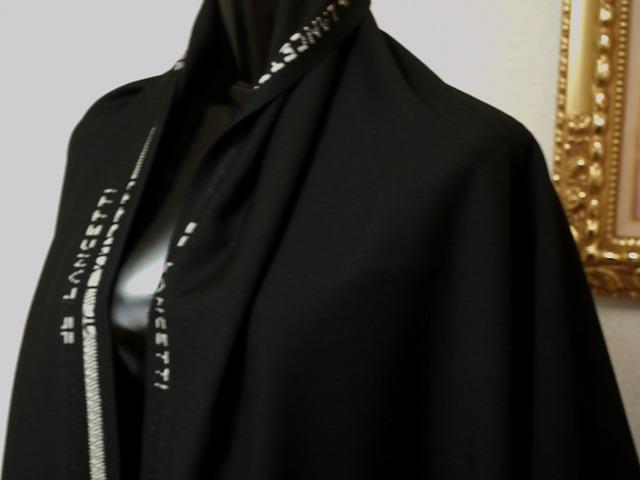 お買得 <strong>【LANCETTI/ランチェティ,ウール,無地】 </strong><br>イタリー製,輸入生地,<br> 黒<br> 150cm巾2.5m(スーツ分)<br> 3111-624<br> 【一点在庫あり ご注文はお早めに】