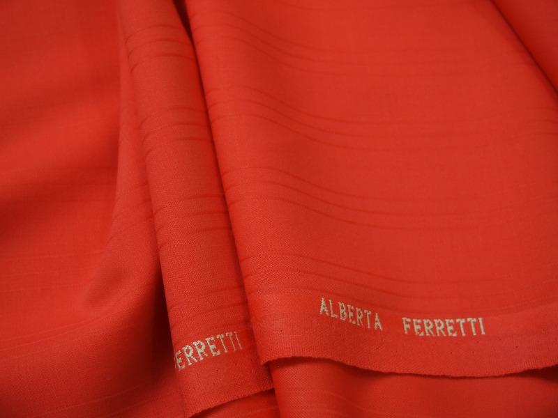お買得 <strong>【ALBERTA FERRETTI ウール/ストライブ織り柄】</strong><br>イタリー製,輸入生地,<br>オレンジ<br>ウール100%<br>140cm巾2.5m<br>3151-254<br>【一点在庫あり ご注文はお早めに】