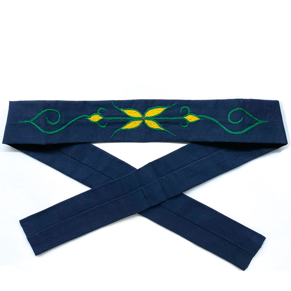 アイヌ マタンプシ 白老 ハンドメイド 刺繍 ハチマキ 植物モチーフ