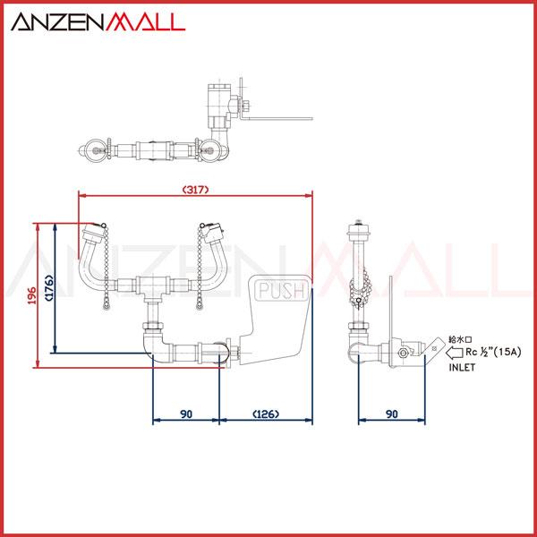 【ANZEN MALL】 水栓型 緊急用洗眼器 AM-100 【シンク取り付け可能な廉価版オールステンレスタイプ】