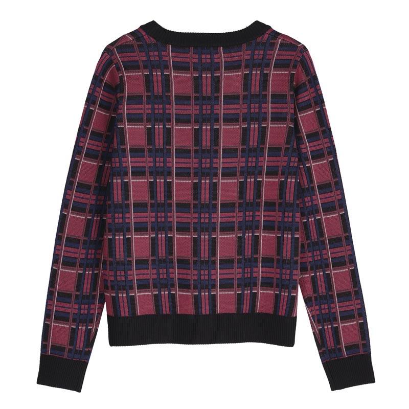 チェックジャガードニットセーター