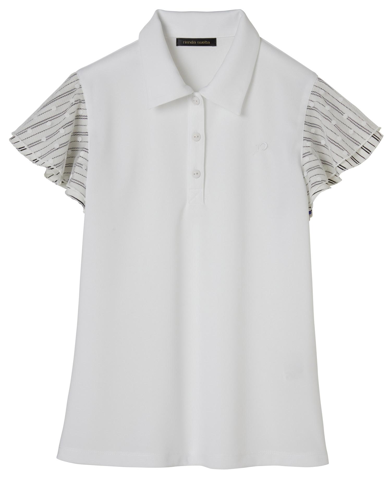 ストライプ×ドット ポロシャツ