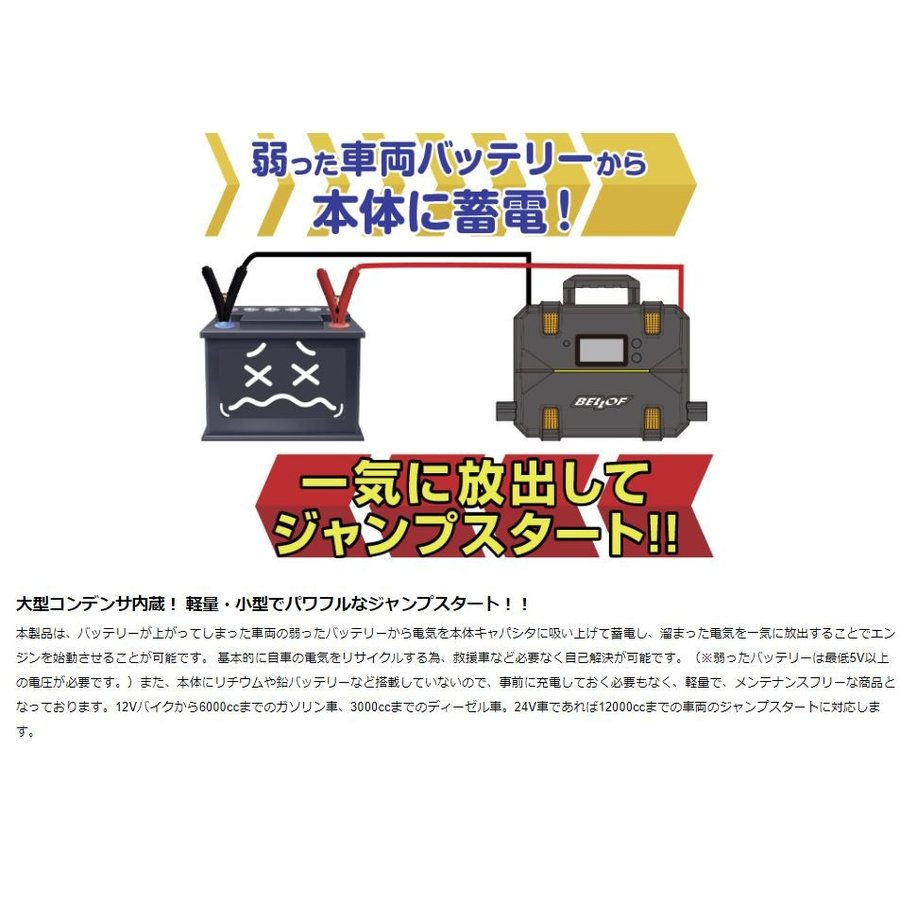 BELLOF べロフ JSL010 ウルトラ キャパシタ ジャンプスターター 12V / 24V 自動車専門紙にも紹介される人気製品