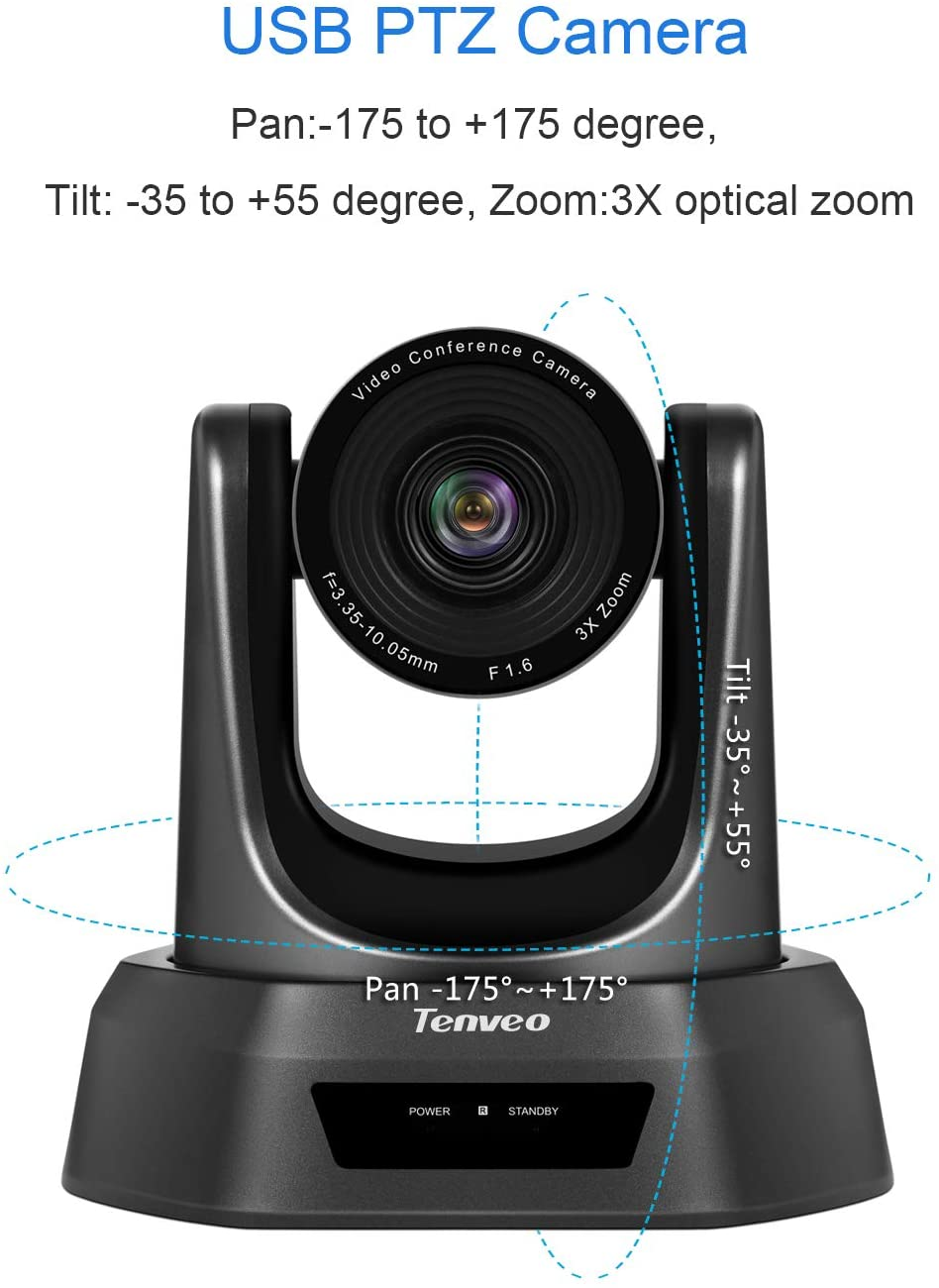 Tenveo TEVO-VA3000E web会議 カメラ 10倍光学ズーム 1080p 高画質 自動フォーカス usbカメラ 広角 PTZ ウェブカメラ VA3000シリーズ