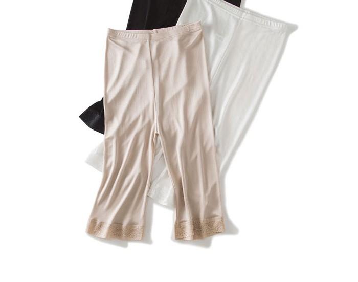 【シルク インナー】レディース インナー レディース シルク ペチコートパンツ 透け防止 薄いサラサラ軽い絹100%の贅沢な風合い シルク パンツ 5分丈 ズボン下着 シルク100% silk inner ladies レディースインナー 透けない 絹 肌着[3色展開]