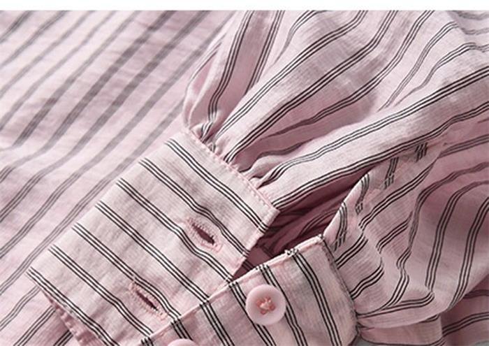 ストライプ ジャガード シャツ レディース クラッシックパフスリーブ トップス 大人女子  オシャレ 上品[2色展開]