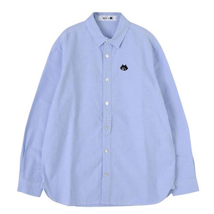 レディースシャツ 長袖 オックスフォードシャツ 無地 カジュアル ワイシャツ 刺繍入りカワイ[2色展開]