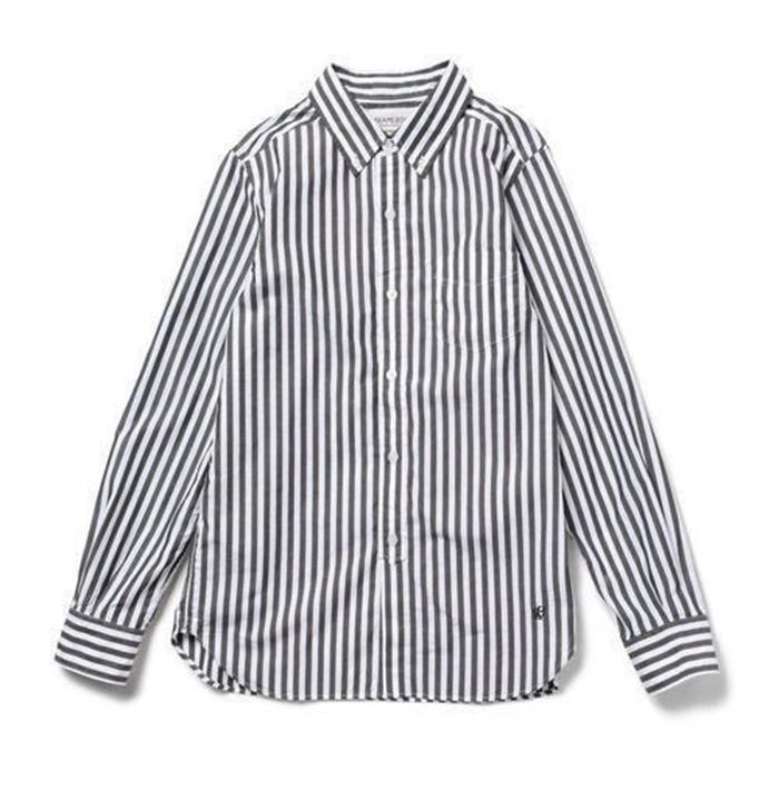 レディースシャツ 長袖 コットン ストライプ ナチュラル カジュアル ワイシャツ 刺繍入りカワイ[2色展開]