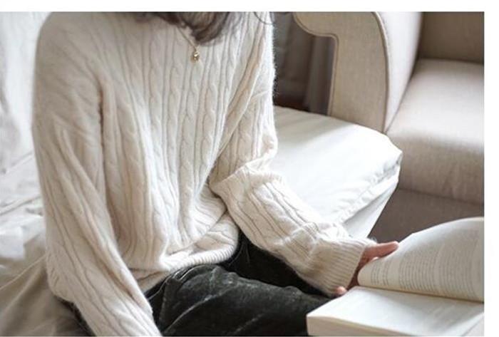 【カシミヤ フェア】レディース  ニット カシミヤ100% ケーブル クルーネックニット  プルオーバー  セーター カシミア トップス セーター ケーブル編み レディース ヤングミセス カジュアル シンプル ファッション  30代 40代 ミセス ミセスファッショ[3色展開]