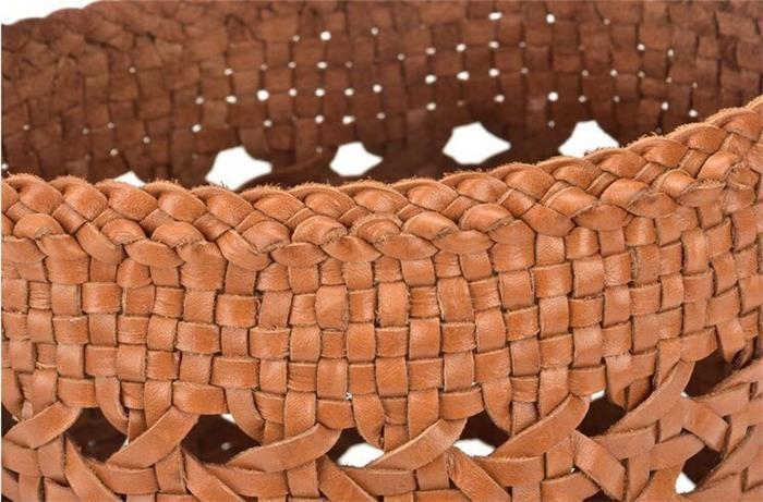 BBメッシュレザー バッグ ラウンドトート ハンドメイド レザーバッグ 本革 メッシュ カゴバッグ BASKET 2020年トレンドバッグ[5色展開]