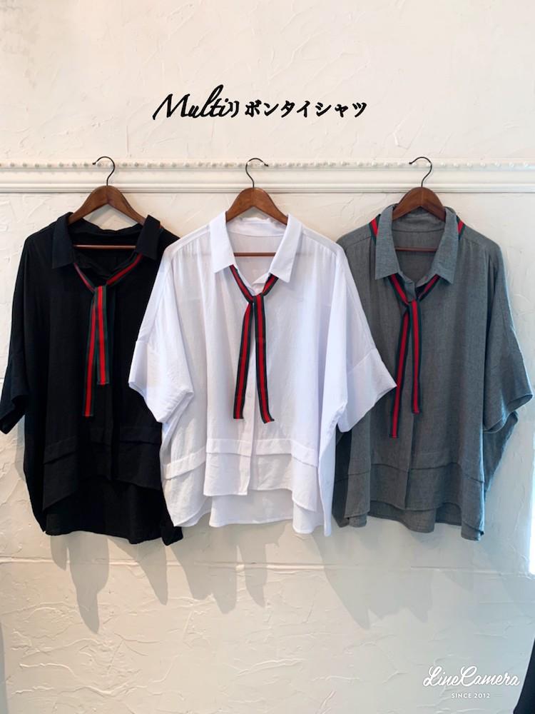 Multiリボンタイ シャツ
