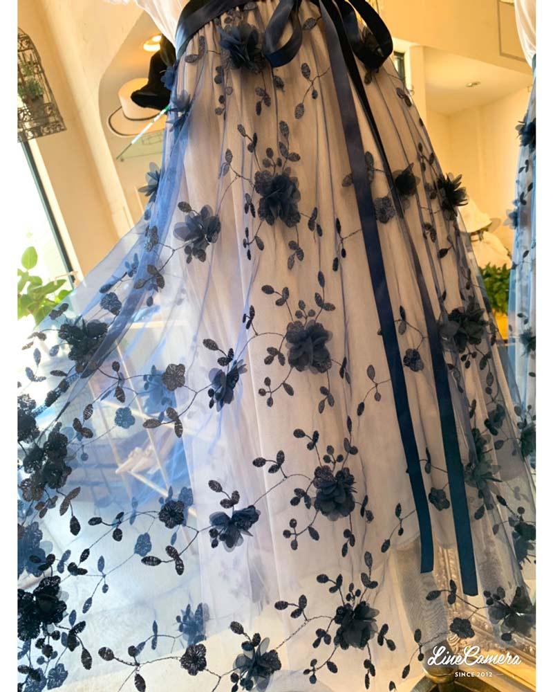 シフォンFlower刺繍チュールスカート