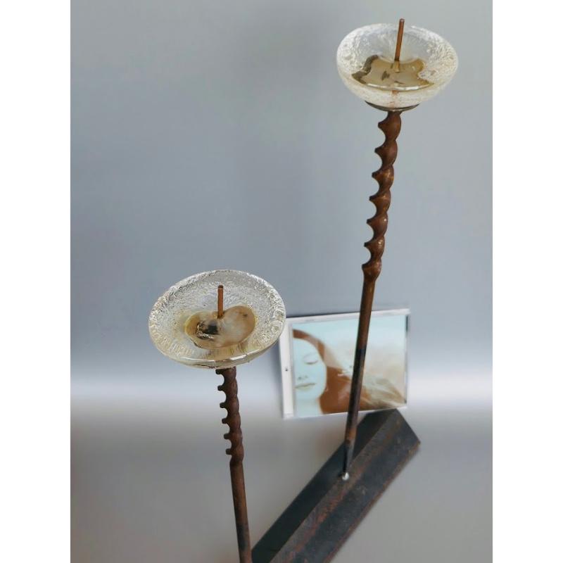 木村俊江/作 「鉄とガラスの蝋燭立2」