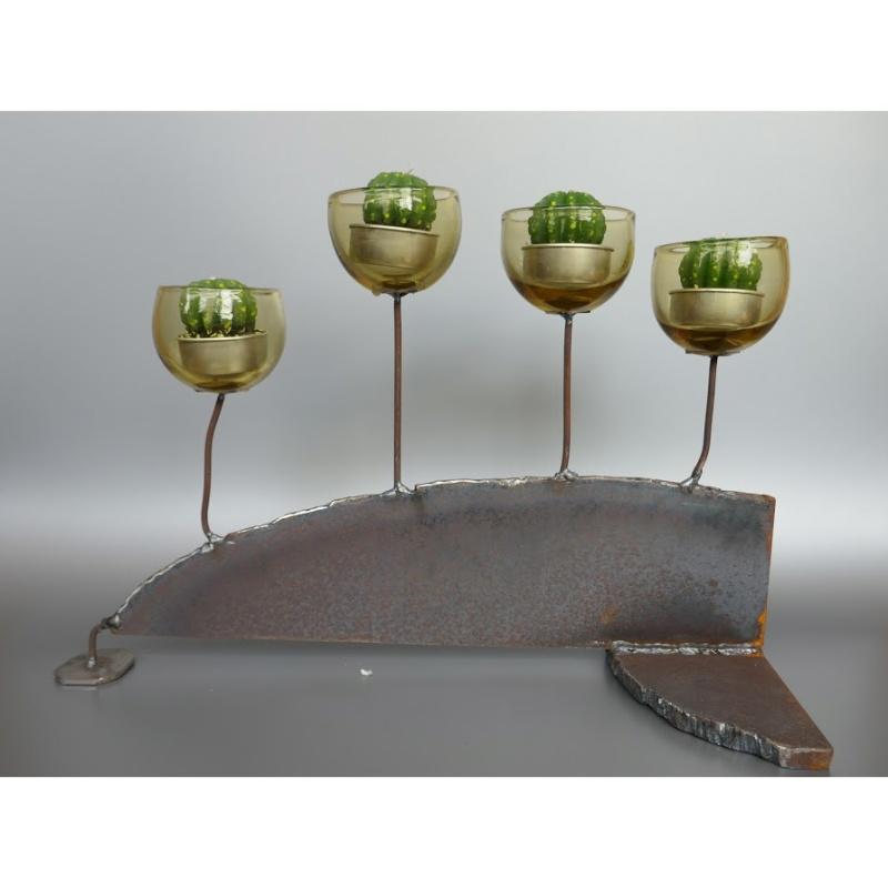 木村俊江/作 「鉄とガラスの蝋燭立3」