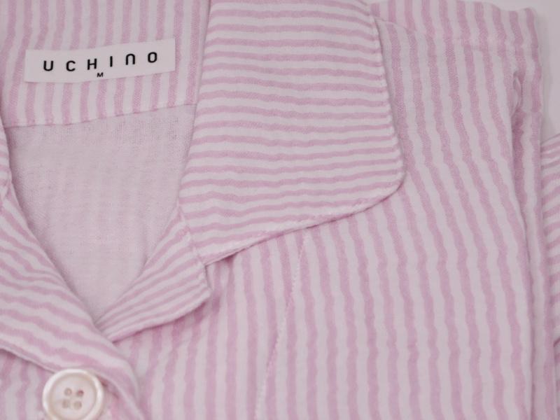 UCHINO/内野<br> マシュマロガーゼストライプ<br> レディース長袖パジャマ<br> ピンク