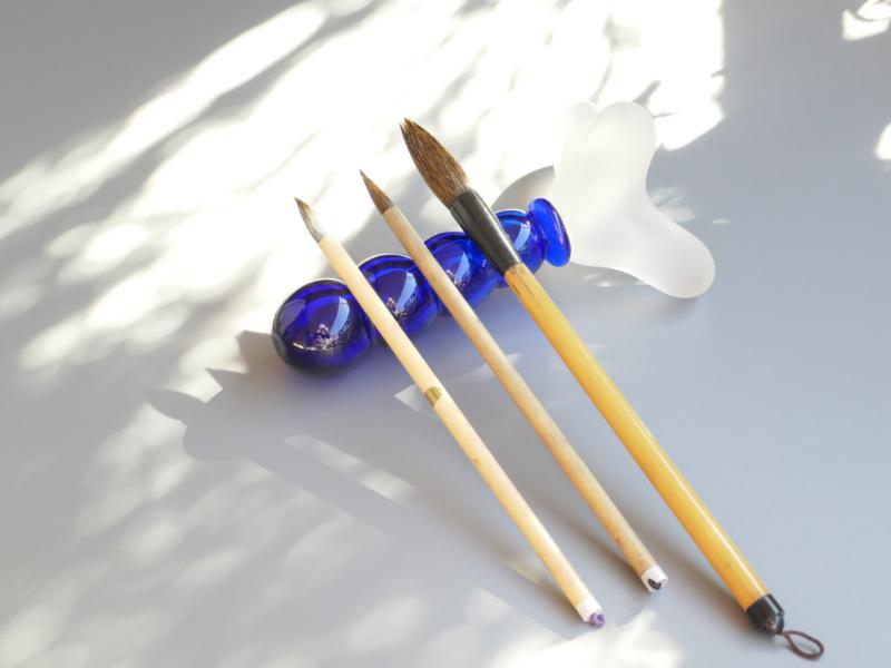 木村俊江/ガラス 『青の筆枕』