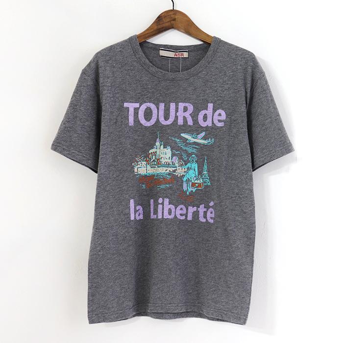 モンサンミッシェル プリント 半袖Tシャツ